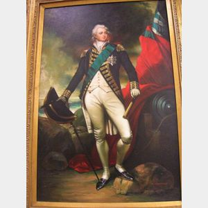 Modern Framed Oil on Canvas Portrait of Lafayette