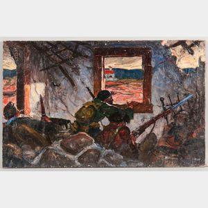 Everett S. Ward (American, 1911-1994)      Keeping Watch, Spanish Civil War