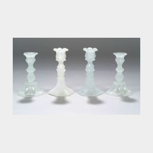 Four Clambroth Pressed Glass Candlesticks