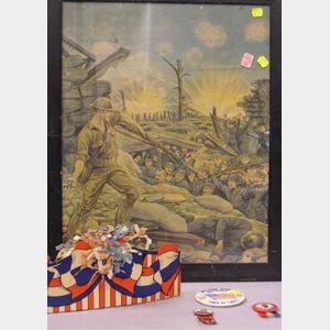 Two Framed WWI Era Patriotic Lithograph Prints and Patriotic Ephemera.