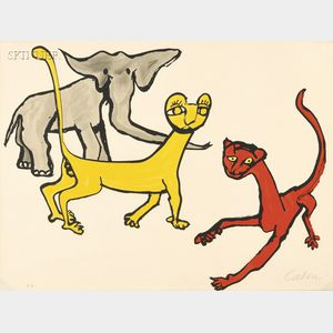Alexander Calder (American, 1898-1976)      Untitled (Elephant and Big Cats).
