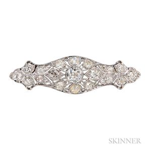 Diamond and Platinum Bar Brooch