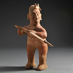 Large Colima Warrior Figure