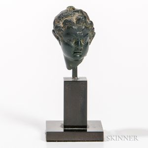 Hellenistic Bronze Head of a Satyr