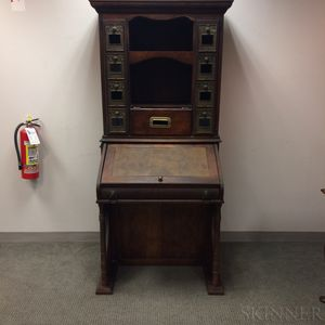 British Victorian Walnut and Brass Postal Cabinet