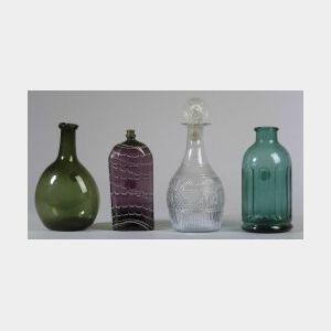 Four Blown Molded Glass Items