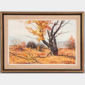 John K. Wilson (American, 20th Century)      Windy Fall Landscape