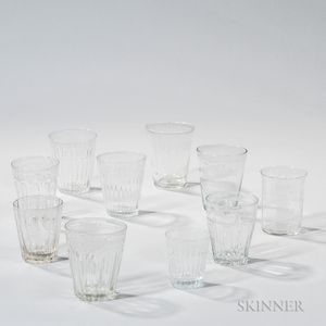 Ten Blown or Blown-molded Early Glass Tumblers