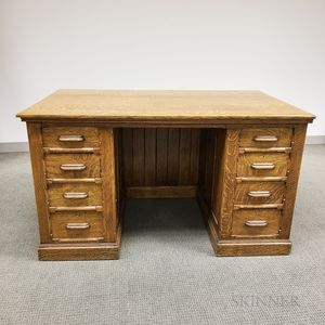 Carved Oak Double-pedestal Desk