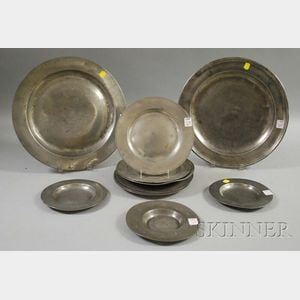 Nine Pewter Plates and Two Chargers.