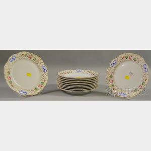 Set of Twelve Portuguese Vista Alegre Hand-painted Floral-decorated Porcelain   Plates,