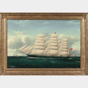 Frederick J. Tudgay (British, 1841-1921)      Portrait of a Three-masted Vessel