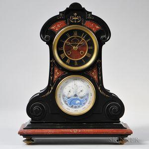 Tiffany & Company Belgian Slate and Rouge Marble Perpetual Calendar Clock