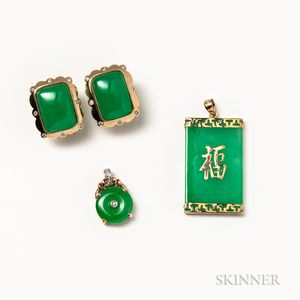 Pair of 14kt Gold, Jadeite, and Diamond Earrings and Two Jadeite Pendants