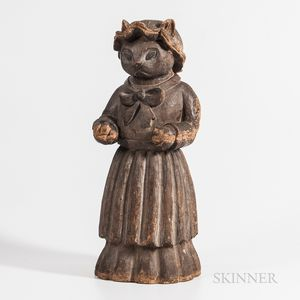 Carved Counter-top Figure of Cat Dressed as Baker