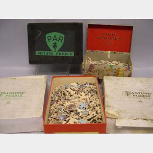 Five Boxed Lithographed Wooden Puzzles