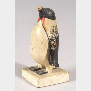 Carved and Painted Wooden Penguin Figure