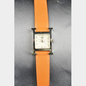 "Stainless Steel ""H-our"" Wristwatch, Hermes"