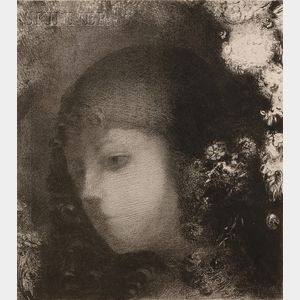Sold for: $22,515 - Odilon Redon (French, 1840-1916)      Tête d