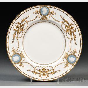 Ten Minton Porcelain Pate-sur-Pate Decorated Plates