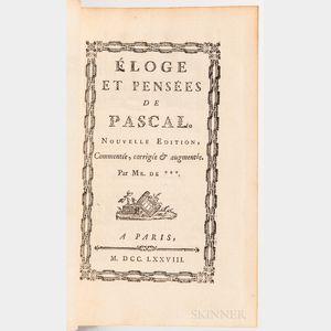 Pascal, Blaise (1623-1662) [and] Jean Antoine Nicolas de Caritat, Marquis de Condorcet (1743-1794) Eloge et Pensees de Pascal.