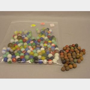 Approximately 140 Assorted Glass Marbles and Forty-five Clay Marbles.