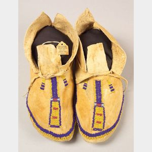 Southern Plains Beaded Hide Moccasins
