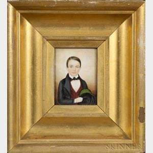 Attributed to Mrs. Moses B. Russell (Clarissa Peters), (Massachusetts, 1809-1854)    Portrait Miniature of Augustus Hall.