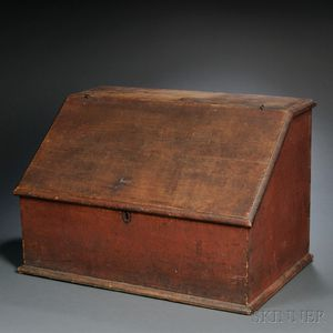 Red-painted Pine Desk Box