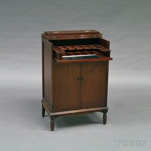 Federal-style Inlaid Mahogany Liquor Cabinet and Thirty-three Colorless Glasses