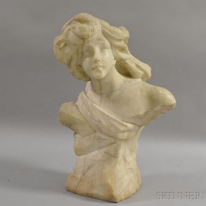 Italian Carved Alabaster Bust of a Young Girl