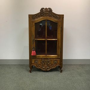 Louis XV-style Glazed Walnut Hanging Cupboard