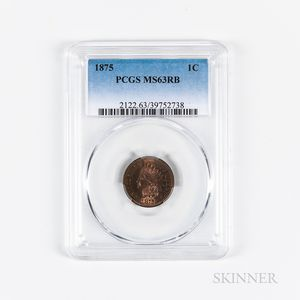 1875 Indian Head Cent, PCGS MS63RB.