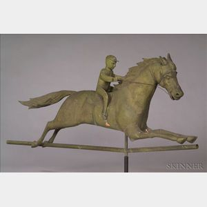 Large Molded Sheet Copper and Cast Iron Horse and Jockey Weather Vane