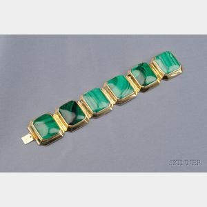 14kt Gold and Malachite Bracelet