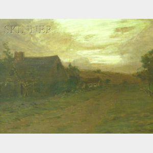 Leonard Ochtman (American, 1854-1934)      Sunset Landscape
