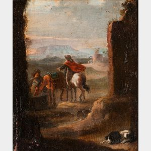 Manner of Philips Wouwerman (Dutch, 1619-1668)      Two Horsemen and a Dog Resting by Ruins