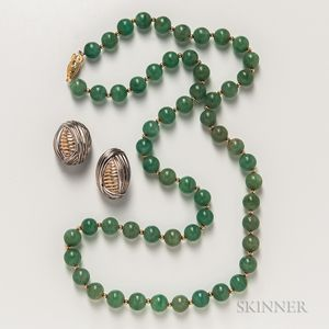 Hardstone Bead Necklace and a Pair of Sterling Silver and 14kt Gold Earrings