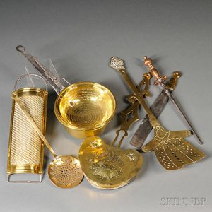Eight Brass Cooking and Hearth Utensils