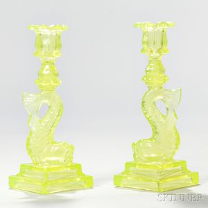 "Pair of Lemon Yellow Pressed Glass ""No Eyed"" Dolphin Candlesticks"