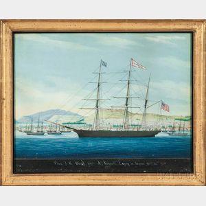 Raffaele Corsini (Italy, active 1830-1880), Portrait of the Bark J.H. Duvall, Capt A. Nickerson, Laying in Smyrna, December 27th 1855,