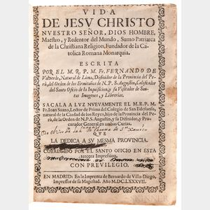 Valverde, Fernando de (fl. circa 1650) & Juan de Suazo (fl. circa 1700) Vida de Jesu Christo Nuestra Senor.