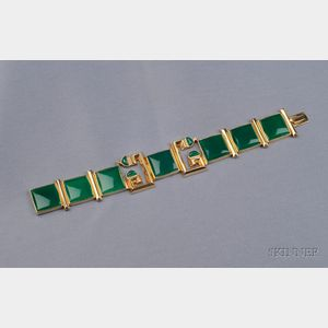 14kt Gold and Green Chalcedony Bracelet