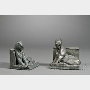 Pair of Rookwood Pottery Panther Bookends