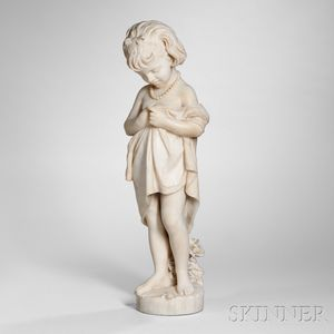 Italian School, Late 19th Century    White Marble Figure of a Young Girl