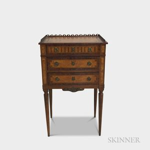 Neoclassical-style Inlaid Walnut Three-drawer Worktable