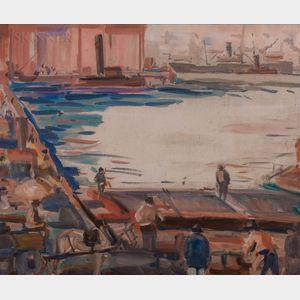 American School, 20th Century      Oil Sketch of an Urban Wharf.
