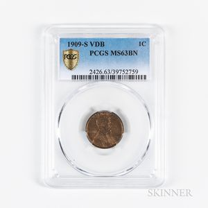 1909-S VDB Lincoln Cent, PCGS MS63BN.