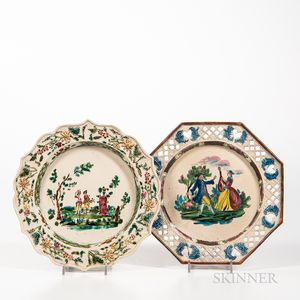 Two Staffordshire Enamel-decorated Molded Salt-glazed Stoneware Plates