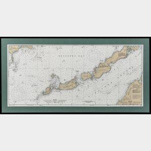 Three Framed Nautical Charts